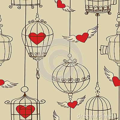Seamless pattern of concept hearts and cages