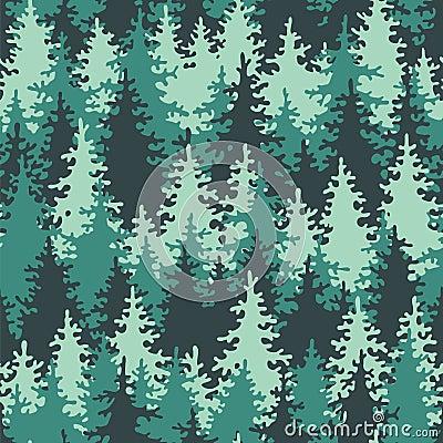 Seamless pattern coniferous forest green