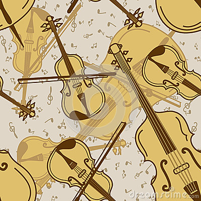 Seamless pattern of contrabass and violin