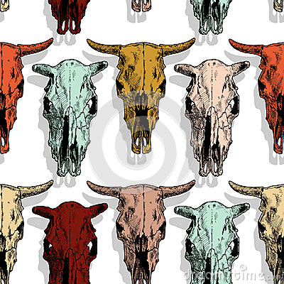 Seamless pattern with cow and bull skull Vector Illustration