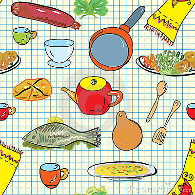 Seamless pattern with crockery