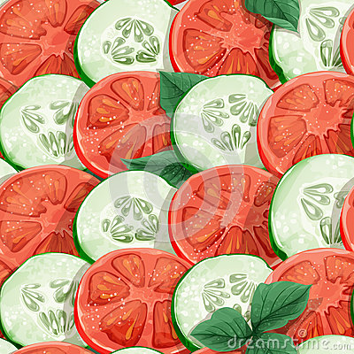 Seamless pattern of cucumbers and tomatoes