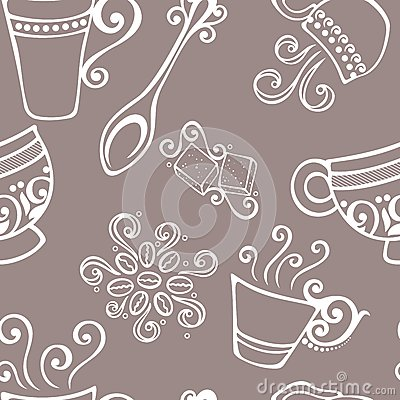 Seamless Pattern with Cups of Coffee (Vector)