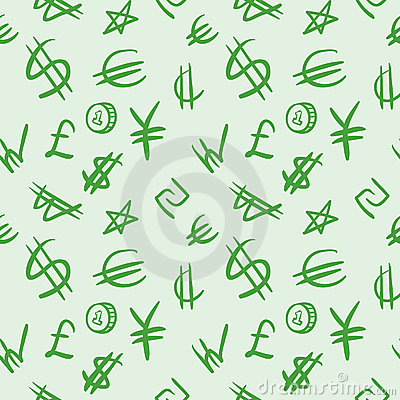 Seamless pattern with currency symbols.