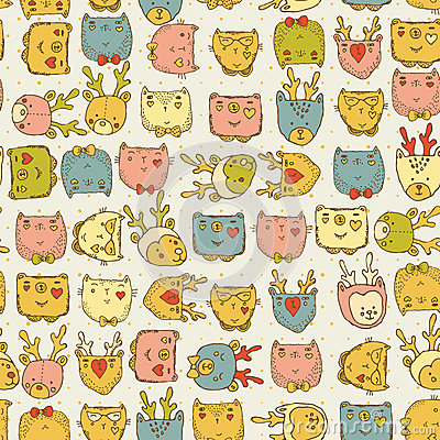 Seamless pattern with cute animals for baby fabric kids for Kids pattern fabric