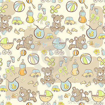 Seamless pattern - Cute baby boy items