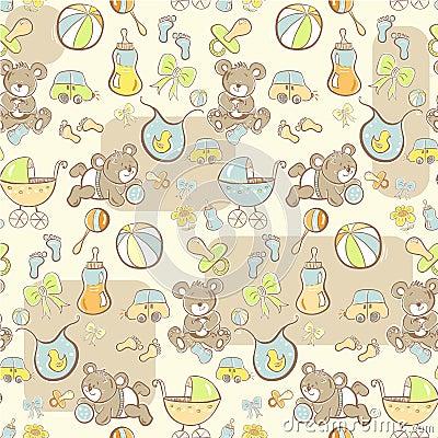 Seamless pattern - Cute baby boy items