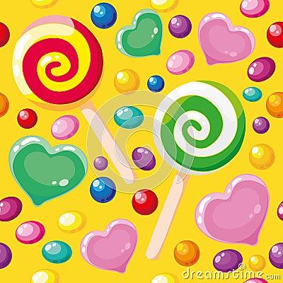 Seamless pattern cute candies