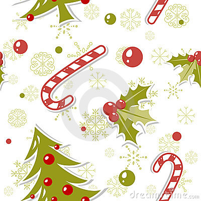 Seamless pattern with cute cartoon Christmas tree