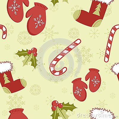 Seamless pattern with cute cartoon red stocking