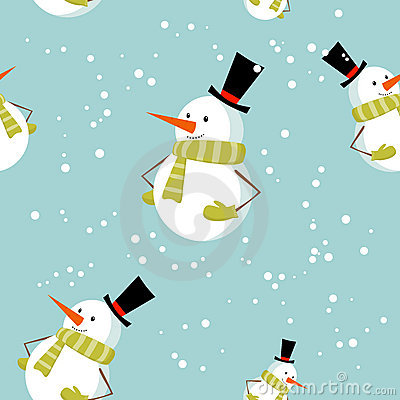Seamless pattern with cute cartoon Xmas snowman