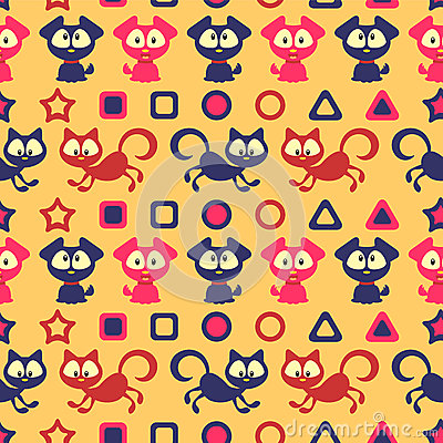 Seamless pattern with cute cats and dogs
