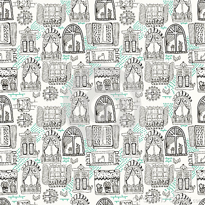 Seamless pattern with cute doodle cartoon windows stock for Window design cartoon