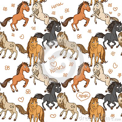 Seamless pattern of cute horses