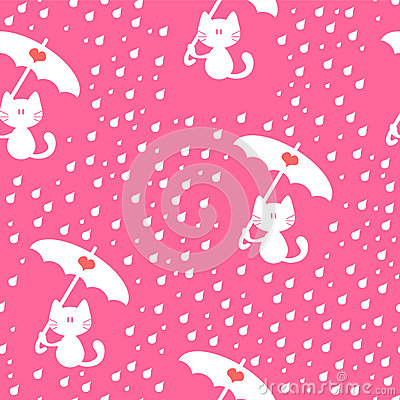 Seamless pattern with cute kitties