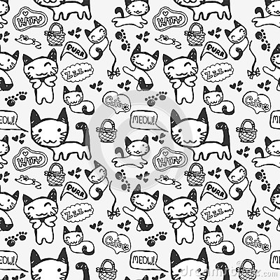 Seamless pattern with cute kitty