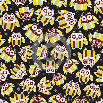 Seamless pattern with cute owls.