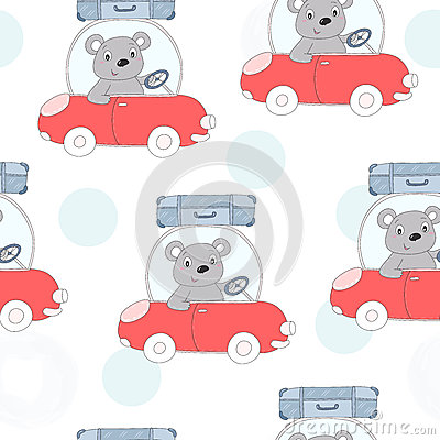Seamless pattern with cute teddi bear in the car vector illustration Vector Illustration