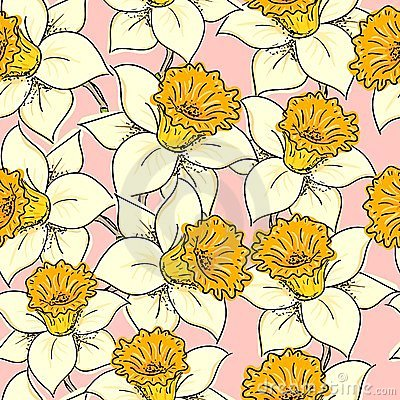 Seamless pattern with daffodil