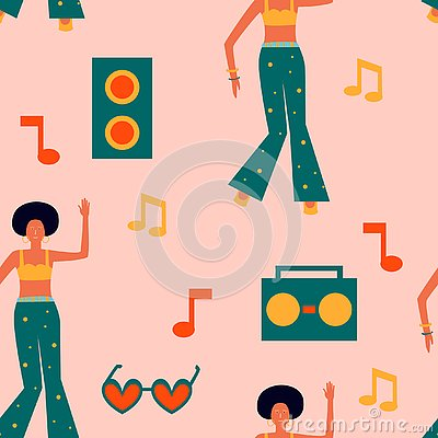 Seamless pattern with dancing women in bright clothes and record player, notes. Girl power background Vector Illustration