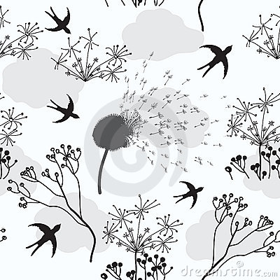 Seamless pattern with dandelion,  flowers and bird