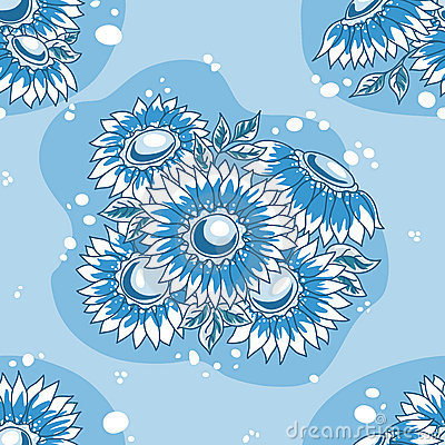 Seamless pattern dark blue flowers bouquet.
