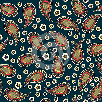 Seamless pattern of decorative retro cucumbers and flowers