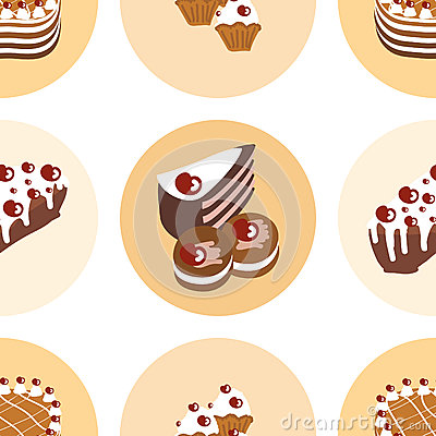 Seamless pattern with delicious sweet