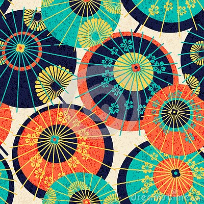 Free Seamless Pattern Design With Colorful Traditional Japanese Umbrellas. Design For Print, Wrapping, Wallpaper Stock Photo - 133228670