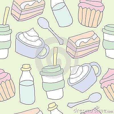 Seamless pattern of dessert background