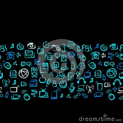 Seamless pattern with IT devices for your design Vector Illustration