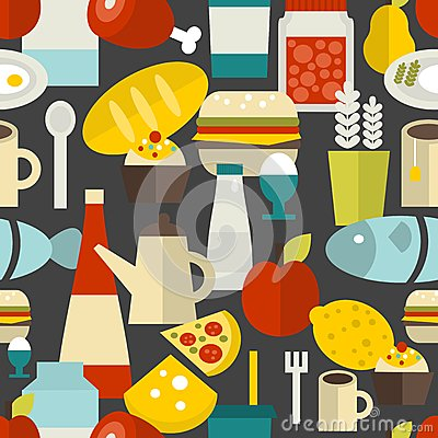 Seamless pattern with different food and drinks. Vector Illustration