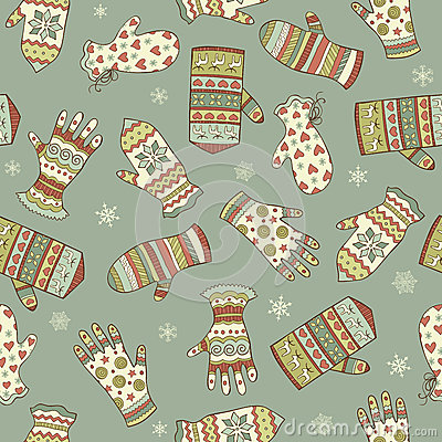 Seamless pattern with different mittens