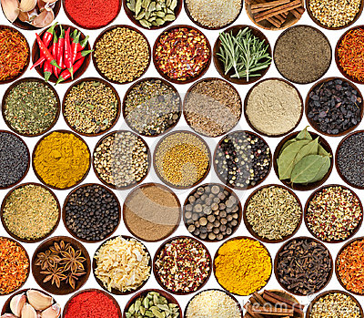 Seamless pattern with different spices isolated on white backgro Stock Photo