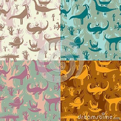 Seamless pattern dinosaurs