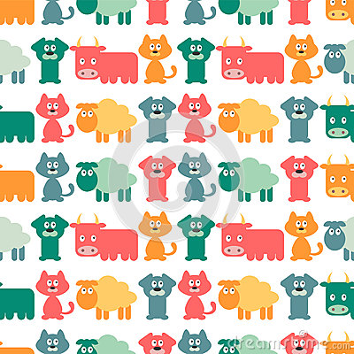 Seamless pattern with domestic animals