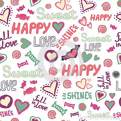 Free Seamless Pattern Doodle Hearts Love Happy Sweet Words Repeat. Vector Avaliable Royalty Free Stock Photo - 86649365
