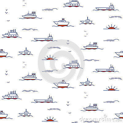 Seamless pattern with doodle ships Vector Illustration
