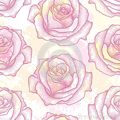 Seamless pattern with dotted rose flower in pink on the background with blots in pastel colors. Floral background in dotwork style