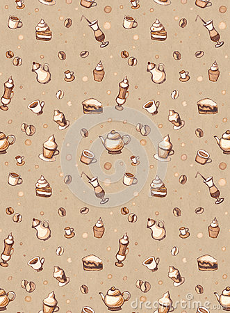 Seamless pattern with drawings of coffee