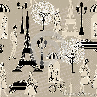 Free Seamless Pattern - Effel Tower, Street Lights Stock Photo - 45843220