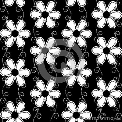 Seamless pattern of embroidered lace