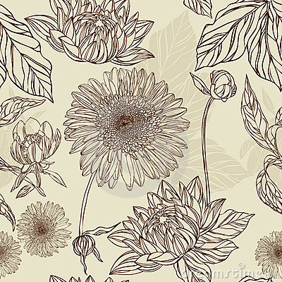 Seamless pattern  flower and leaf in retro style