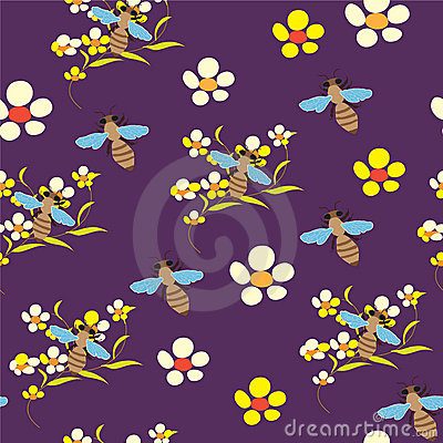 Seamless pattern with flowers and bees on violet b