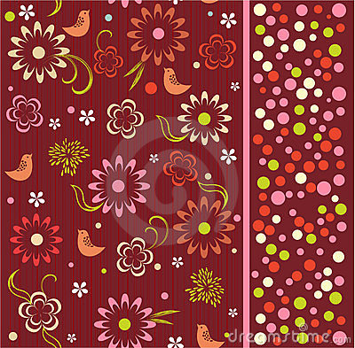 Seamless pattern of flowers with birds (vector)