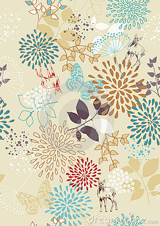 Seamless Pattern with Flowers and Deer