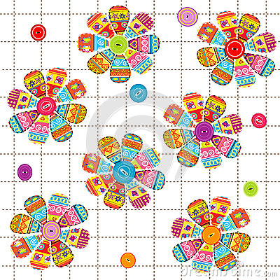Seamless pattern with flowers with ethnic motifs