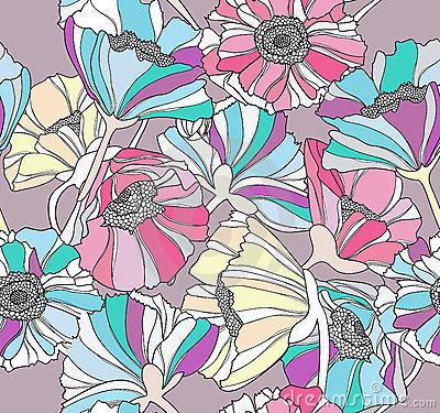 Seamless pattern with flowers.Floral background.
