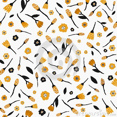 Seamless pattern with flowers and leaves in black and yellow color on white background. Hand drawn fabric, gift wrap Vector Illustration