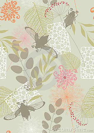 Seamless Pattern with Flowers and May-Bugs